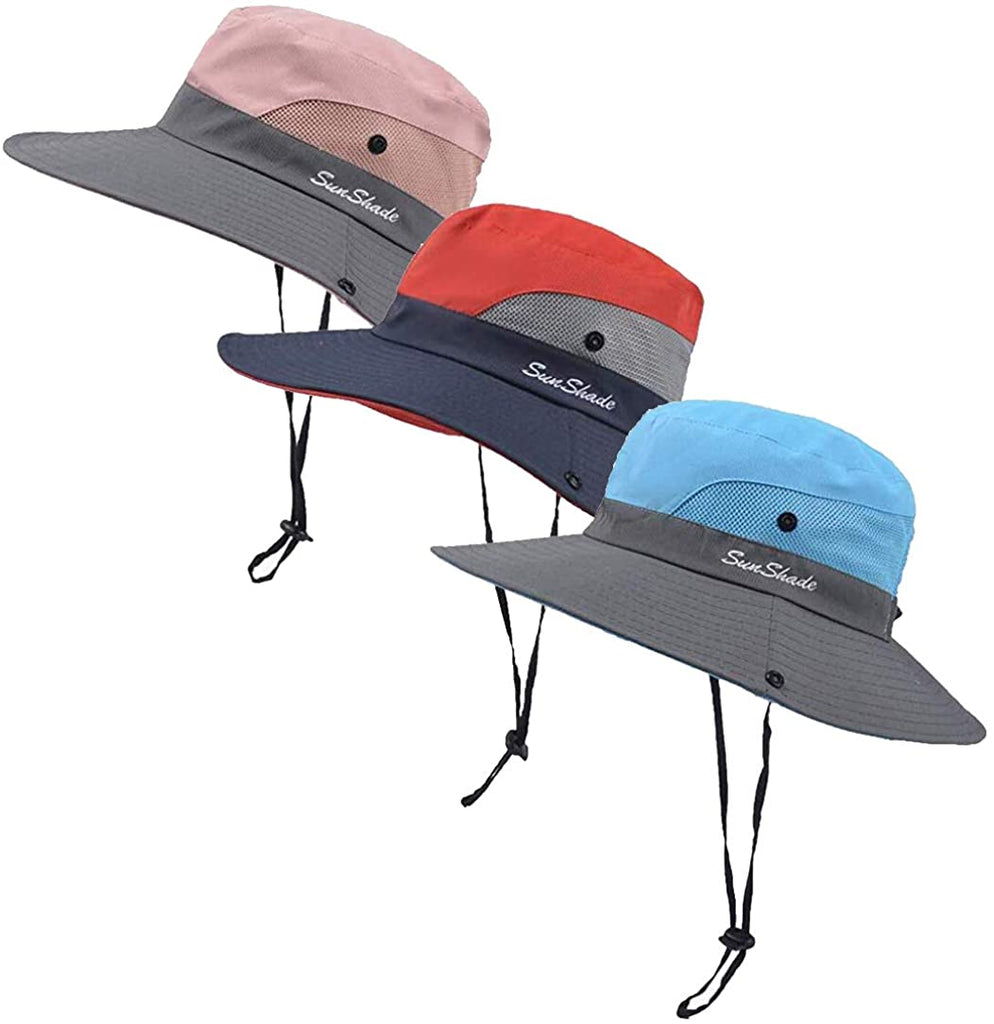 3 Pieces Women's Outdoor Ponytail Safari Sun Hat Foldable Mesh Wide Brim Beach Fishing Hat (Red & Pink & Sky Blue)