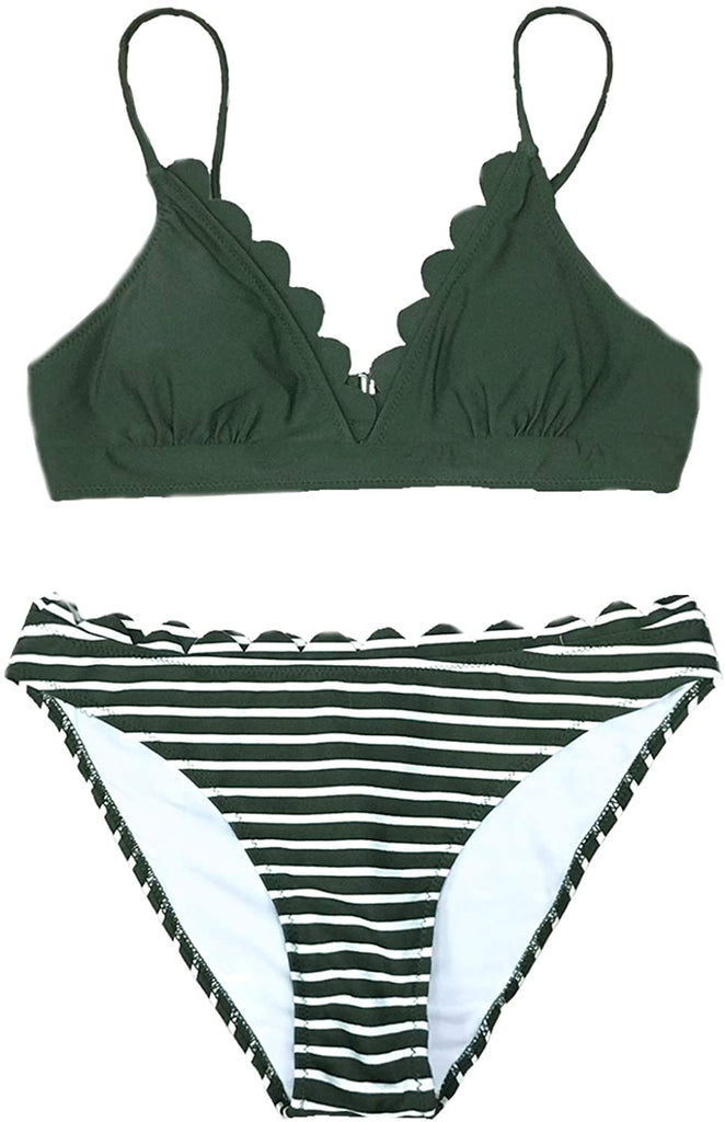 Women's Scalloped Trim in The Moment Bikini (XX-Large Green/White)