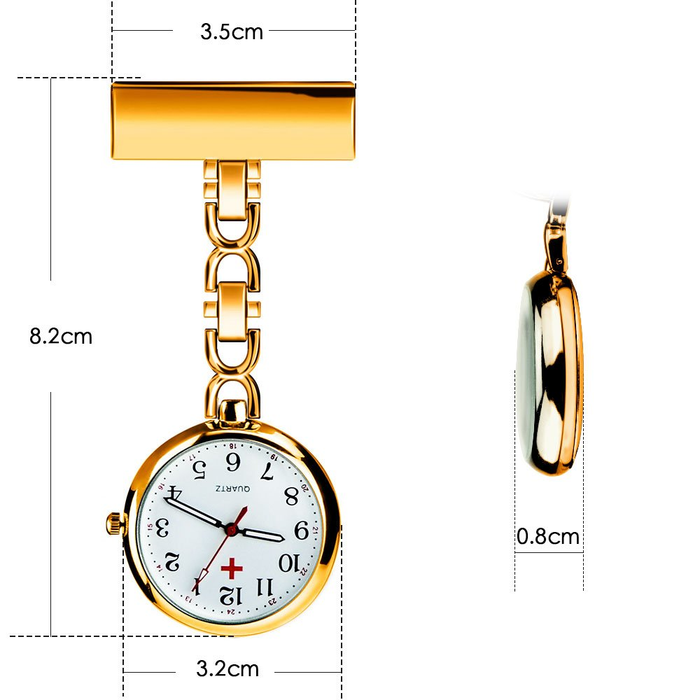 Nurse Lapel Pin Watch Hanging Medical Doctor Pocket Watch Quartz Movement Nurses Watch for Xmas Birthday Mothers Day Gift