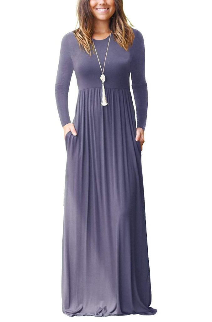 Casual Long Dresses with Pockets Women's Long Sleeve Loose Plain Maxi Dresses