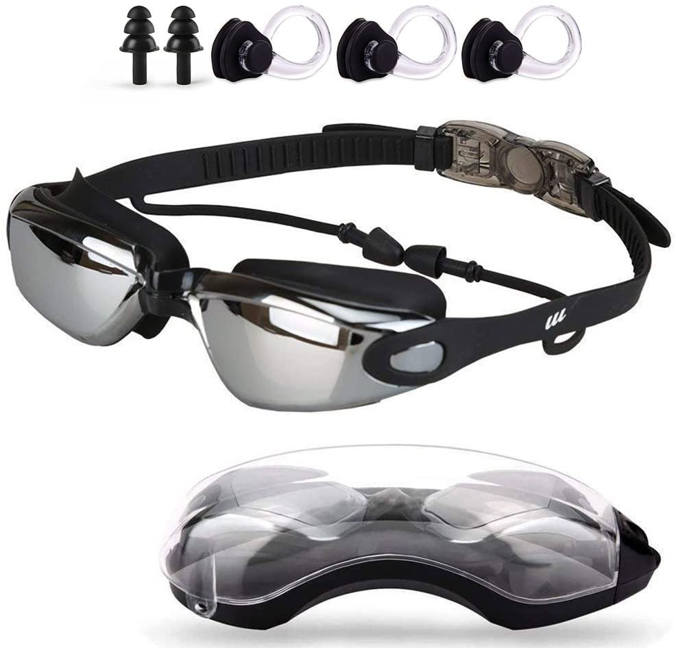 Swim Goggles,Swimming Goggles with Mirror Lens for Men Women Adult Youth Kids Girls Anti Fog No Leaking