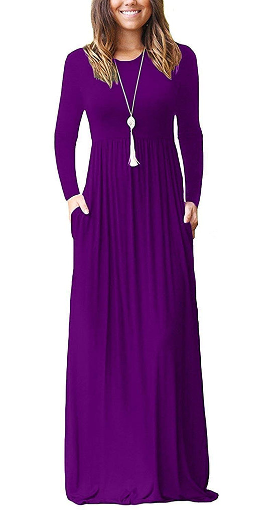 GRECERELLE Women's Long Sleeve Loose Plain Maxi Dresses Casual Long Dresses with Pockets