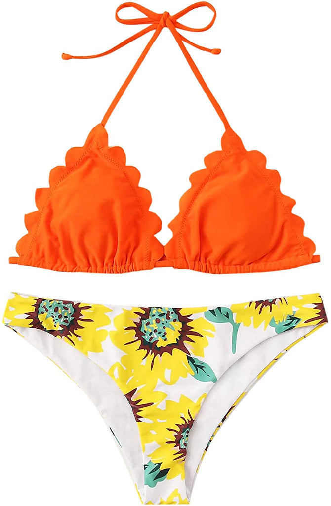 Scallop Halter Bikini Top Floral Print Two Piece Swimsuits Women's Sexy Bathing Suits