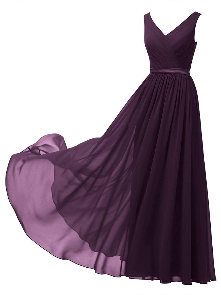 A-line Chiffon Long Dress Party Evening Formal Gown Sleeveless V-Neck Chiffon Bridesmaid Dress