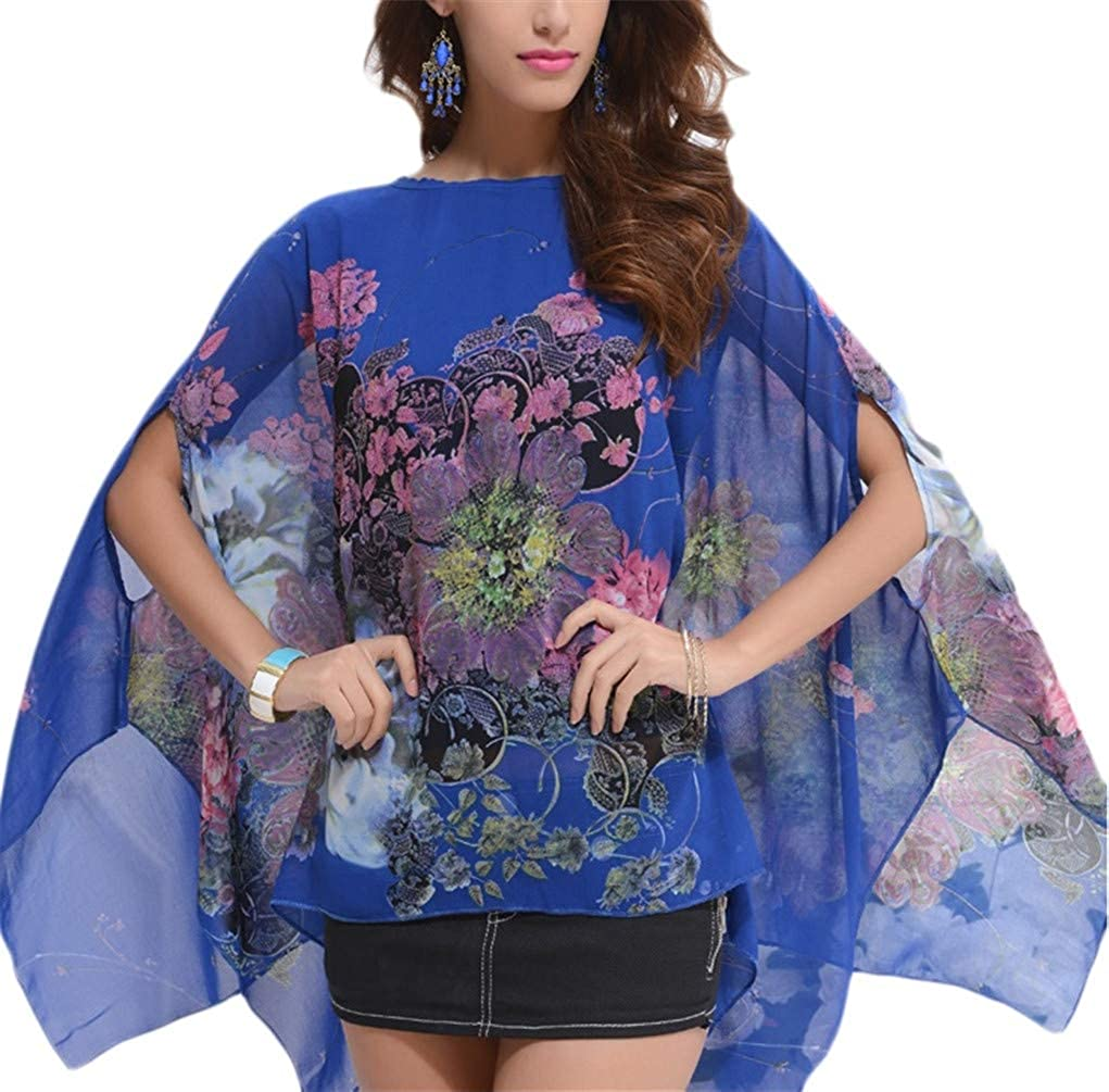 Bohemian Floral Chiffon Blouse Casual Batwing Blouse Hippie Semi Sheer Loose Tops