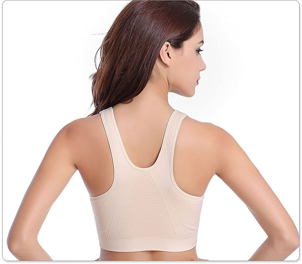Women's Zip Front Sports Bra Wireless Post-Surgery Bra Active Yoga Sports Bras