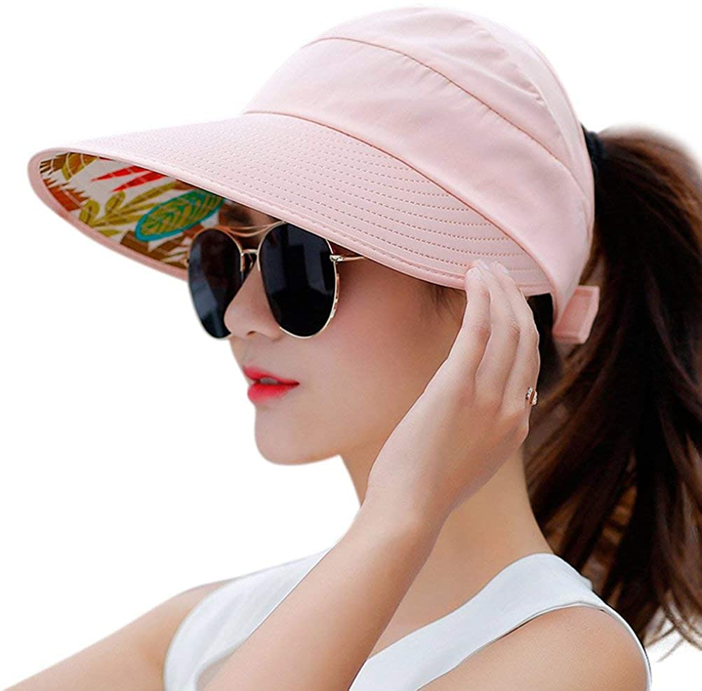 Sun Hats for Women Wide Brim UV Protection Cap Summer Beach Packable Visor (Pink)