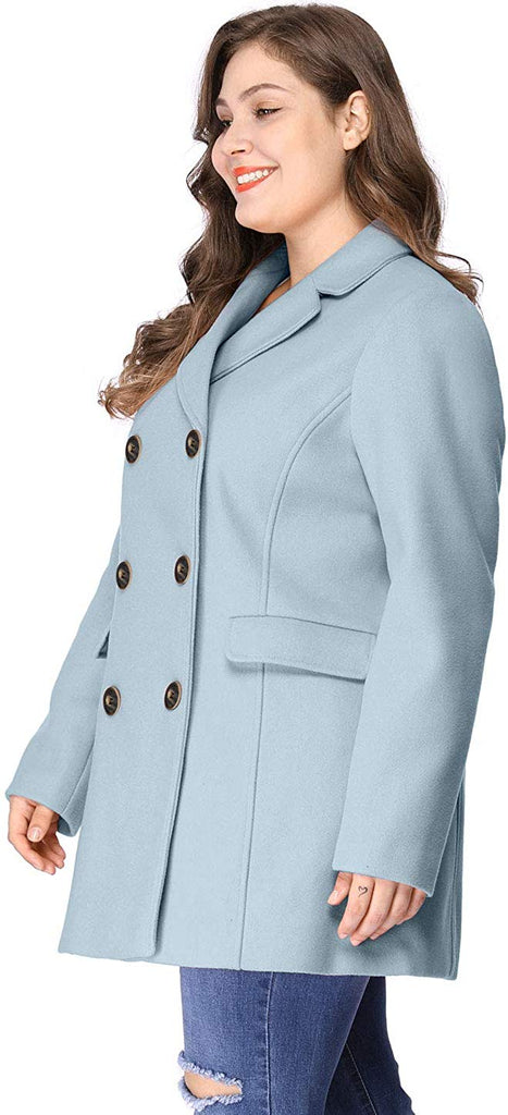 Women's Plus Size Notched Lapel Double Breasted Long Coat