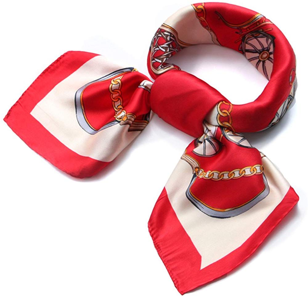 Womens 23.6 inch Satin Silk Feeling Formal Square Neck Scarf Head Hair Wraps
