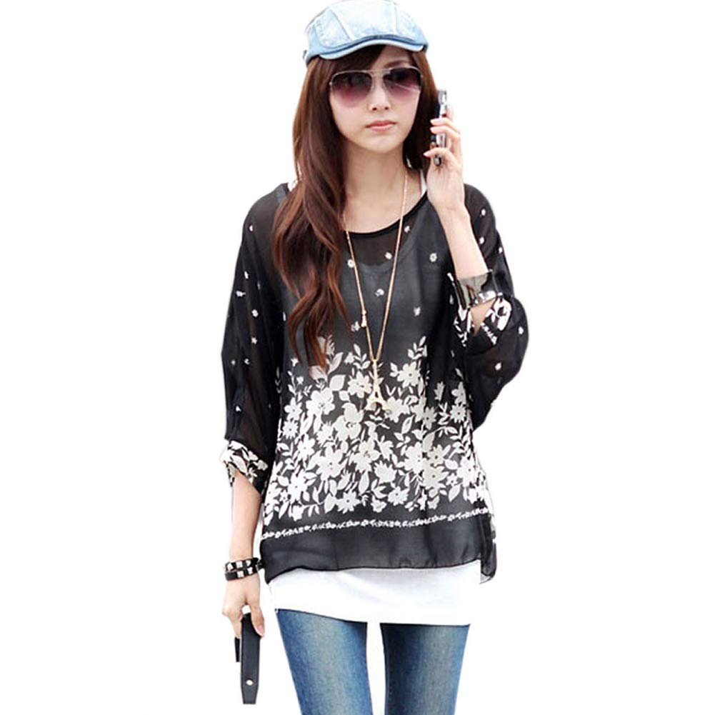 Women Boat Neck Loose Dolman Sleeve Tops Bohemian Chiffon Blouse T Shirt
