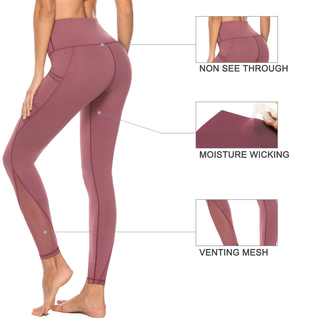 Women's Mesh Yoga Pants with 2 Pockets, Non See-Through Stretch Leggings