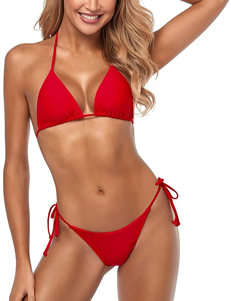 Women's Sexy Halter Thong Bikini Tie Two Sides Bottom Triangle Bikini Swimsuits