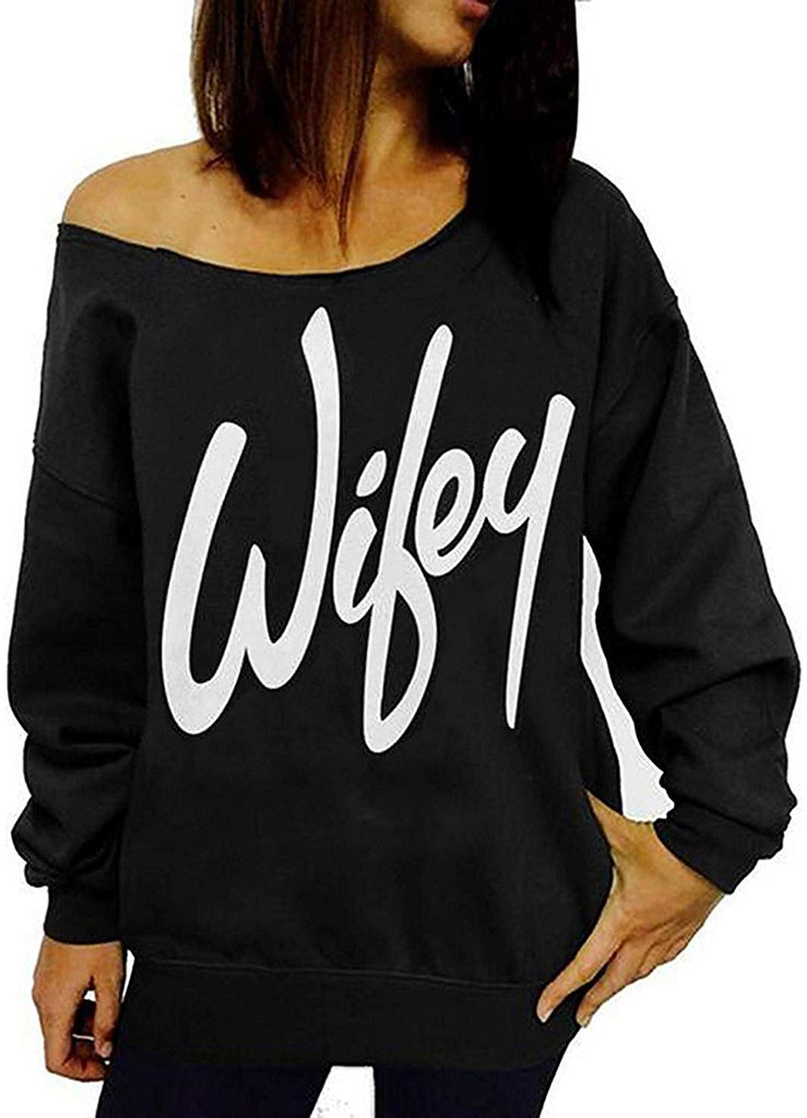 Womens Off Shoulder Sweatshirt Slouchy Shirts Sexy Long Sleeve Pullover Tops