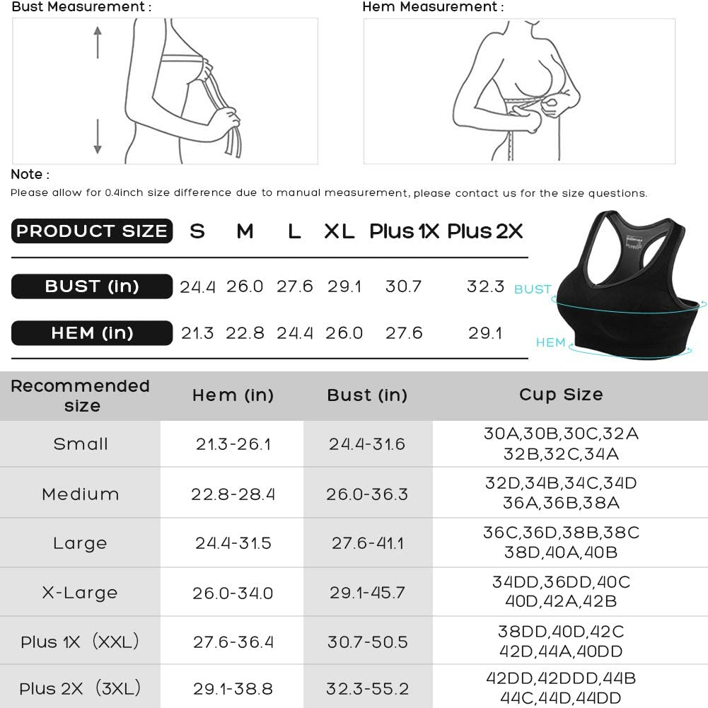 Seamless High Impact Support Bra for Yoga Gym Workout Fitness Racerback Sports Bras for Women- Padded