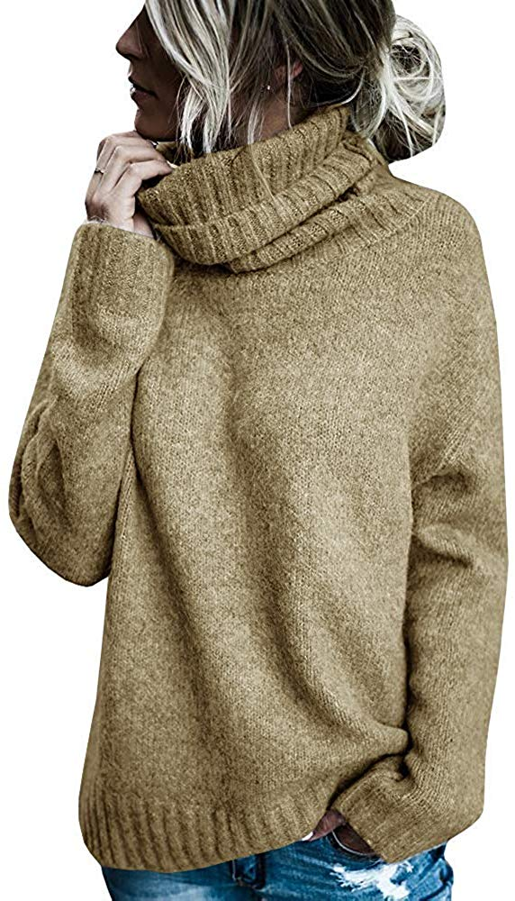 Womens Turtleneck Knitted Sweater Casual Oversized Soft Winter Loose Fit Pullover Sweaters