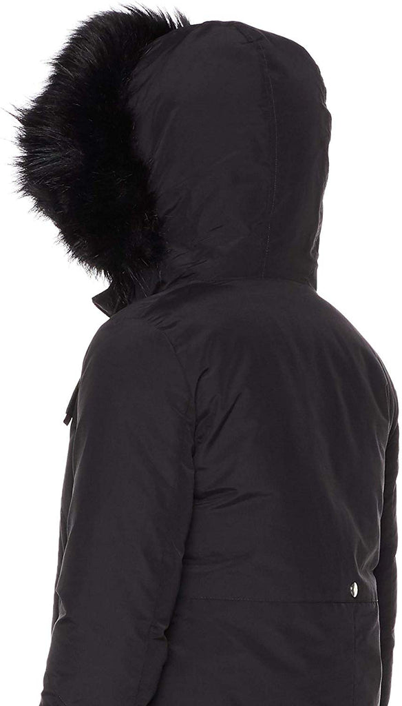 Women's Hooded Mid Length Winter Warm Lightweight Reversible Jacket Coat with Removable Black Faux Fur
