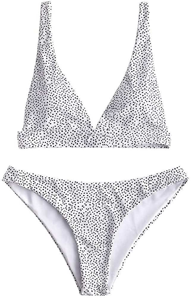 Women's Spaghetti Straps Polka Dot High Cut Two Piece Bikini Set