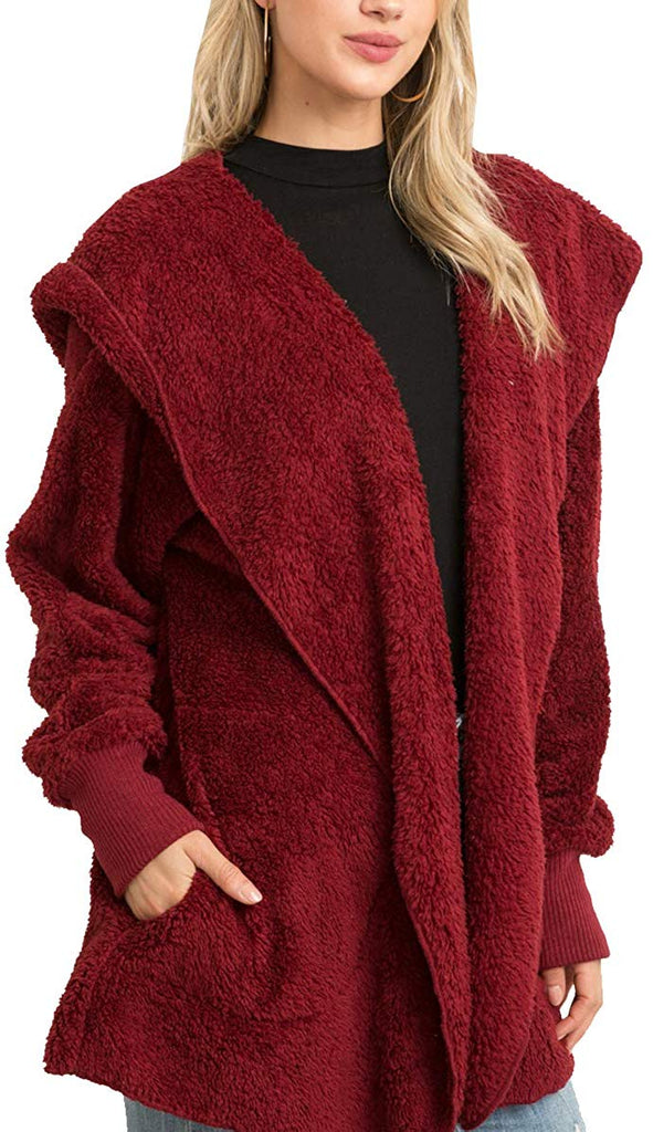 Women's Fashion Long Sleeve Hooded Open Front Fluffy Oversized Soft Fur Jacket with Pockets Cozy Warm Winter