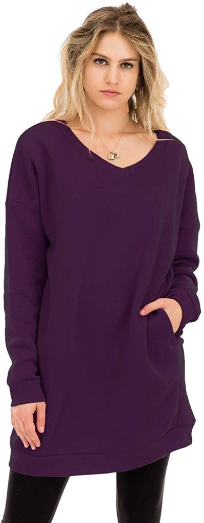 Women's Casual Loose Fit Long Sleeves Over-Sized Sweatshirts Tunic length