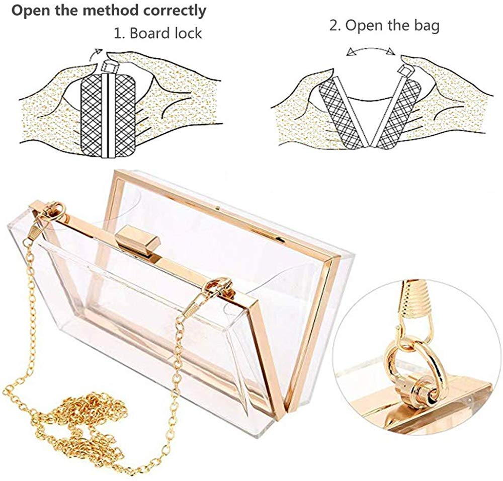 Women Clear Purse Clear Clutch Bag, Shoulder Handbag With Removable Gold Chain Strap
