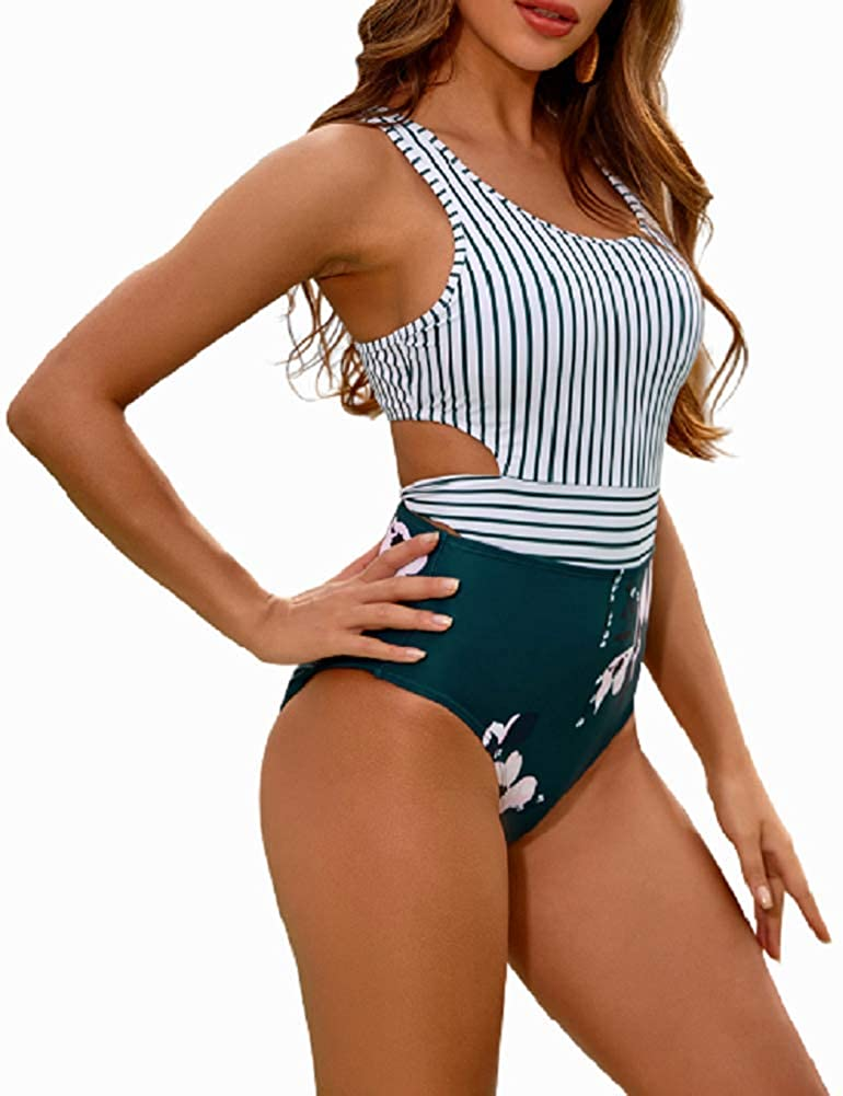 One Piece Swimsuits for Women High Waisted Bathing Suit Monokini Floral Print Cutout Racerback Zip Up