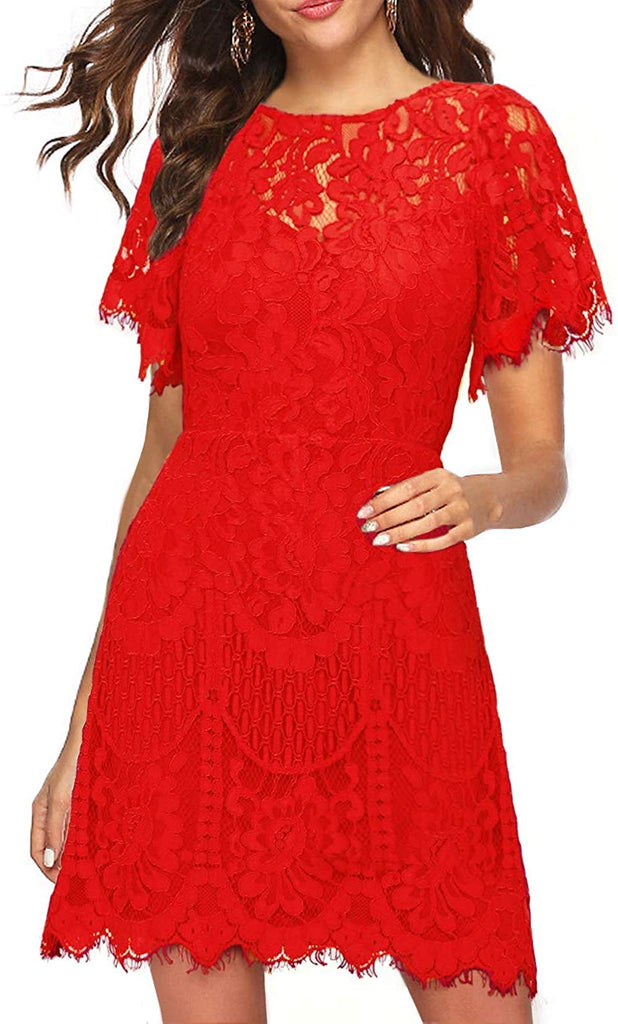 Women's Elegant Round Neck Short Sleeves V-Back Floral Lace Cocktail Party A Line Dress 910