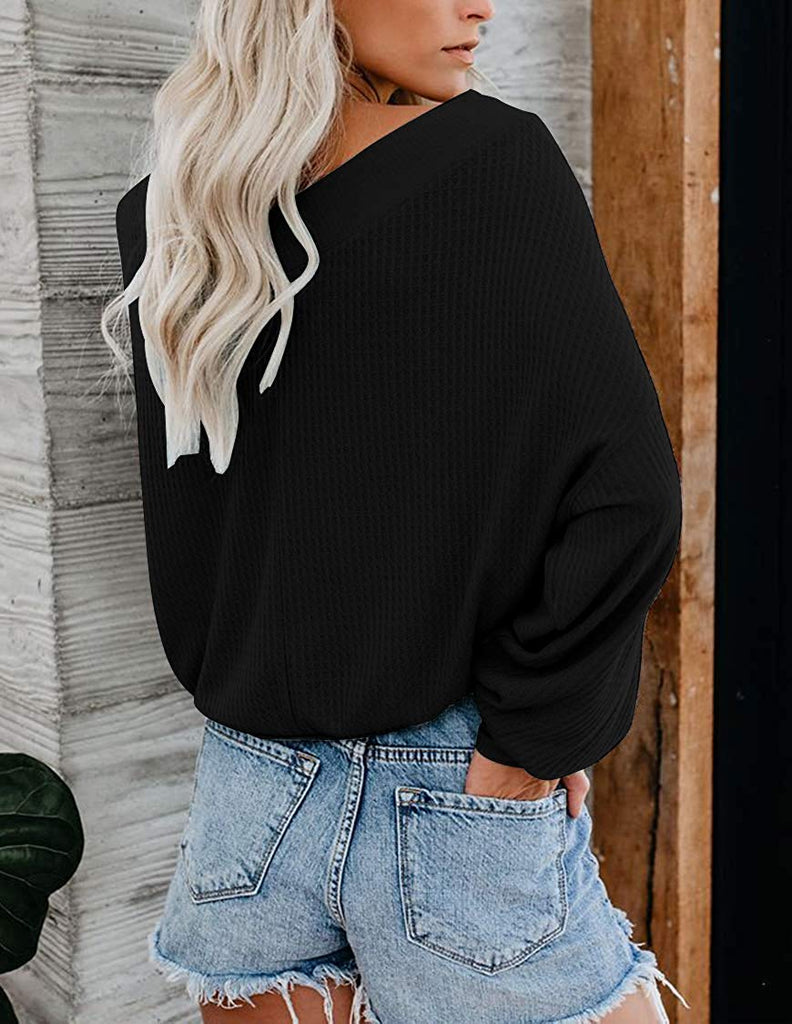 Women's Waffle Knit Batwing Sleeve Off Shoulder Sweatshirt Casual Pullover Sweater Loose Tops