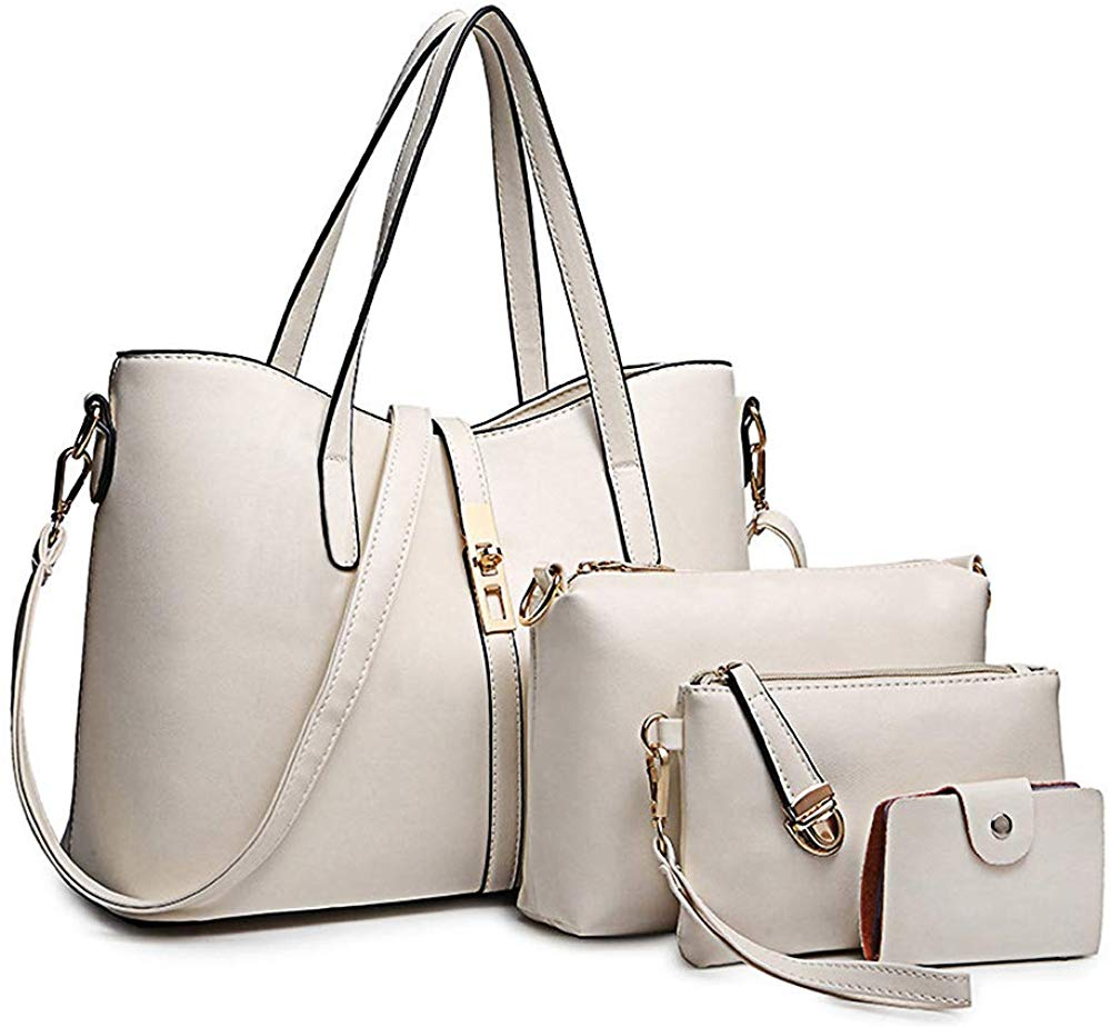 Women's PU Leather Handbag Shoulder Bag Purse Card Holder 4pcs Set Tote