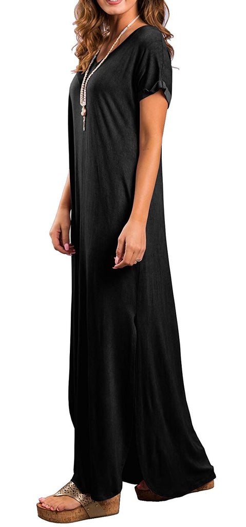 GRECERELLE Women's Short Sleeve Split Maxi Dresses Casual Loose Pocket Long Dress