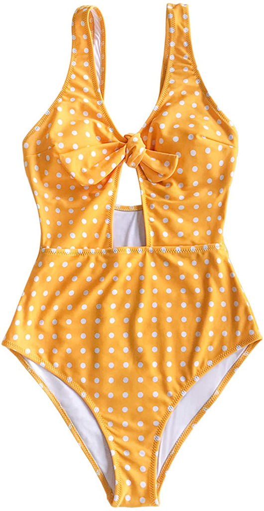 Women's Sweet Honey Bowknot One-Piece Swimsuit Beach Swimwear