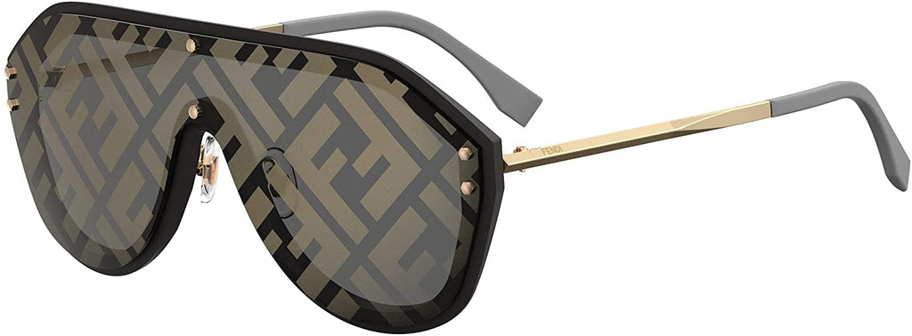 Men Black Gold Plastic Shield Sunglasses Gold Fendi Print Mirror Lens