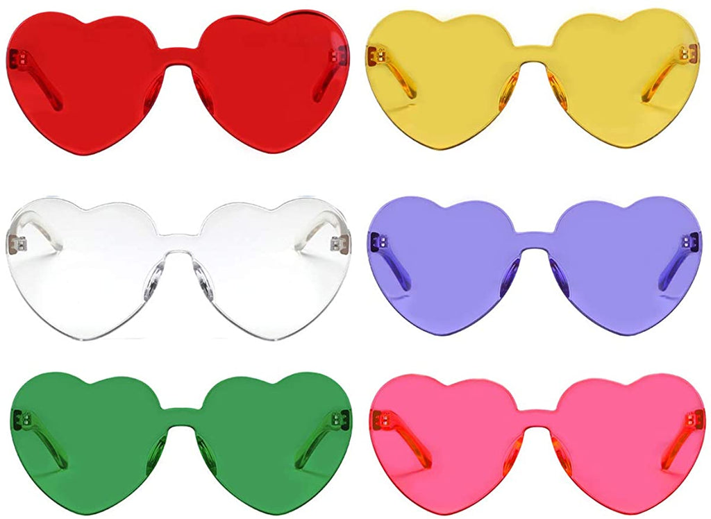 One Piece Heart Shaped Rimless Sunglasses Transparent Candy Color Eyewear