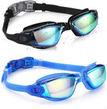 Swim Goggles, Pack of 2 Swimming Goggles No Leaking Anti Fog UV Protection Crystal Clear Vision Triathlon Swim Goggles