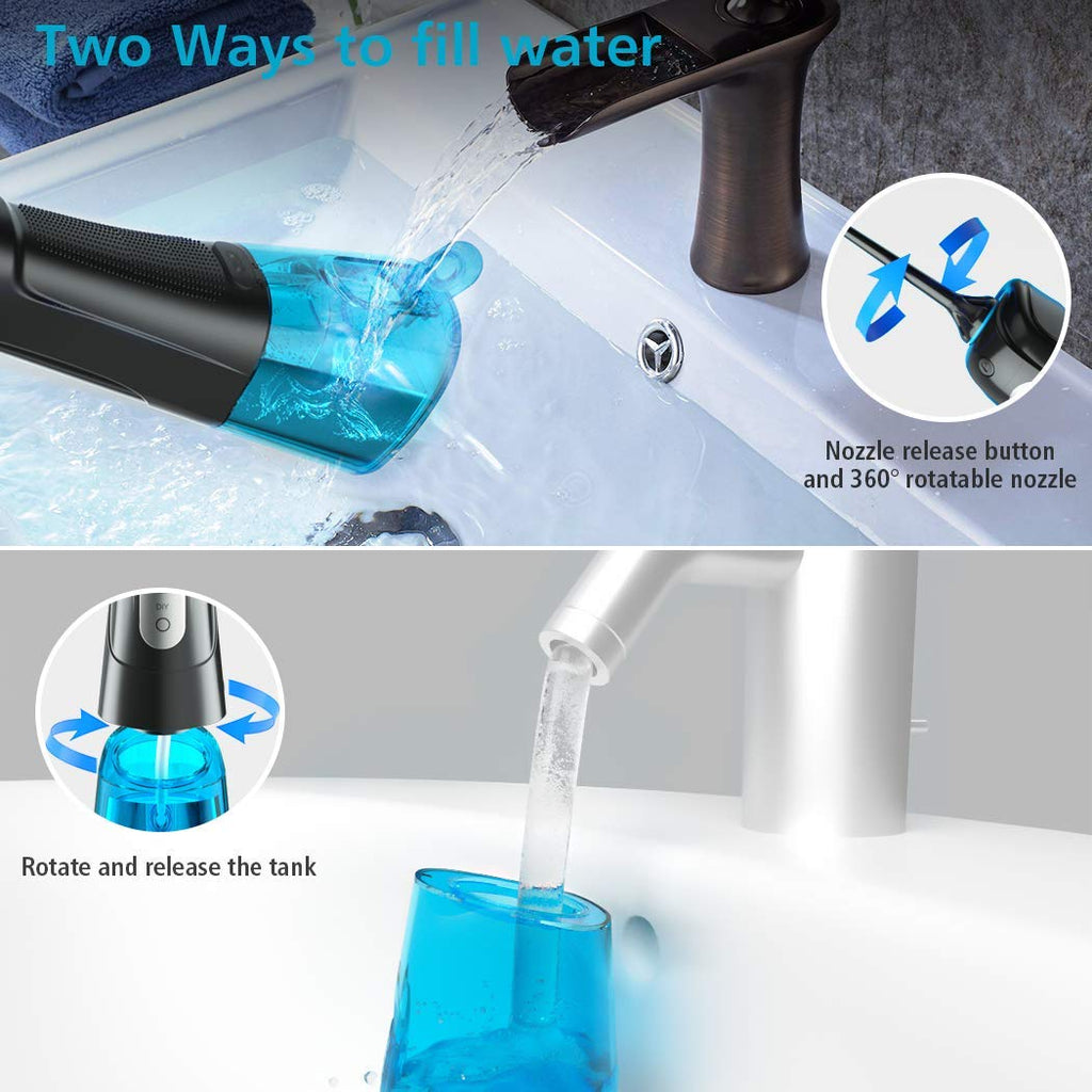 Water Flosser Cordless with Upgraded DIY Mode, OIVO Water Flosser Portable Rechargeable Dental Oral irrigator 300ML IPX7 Waterproof-(5V/1A) Adapter Included