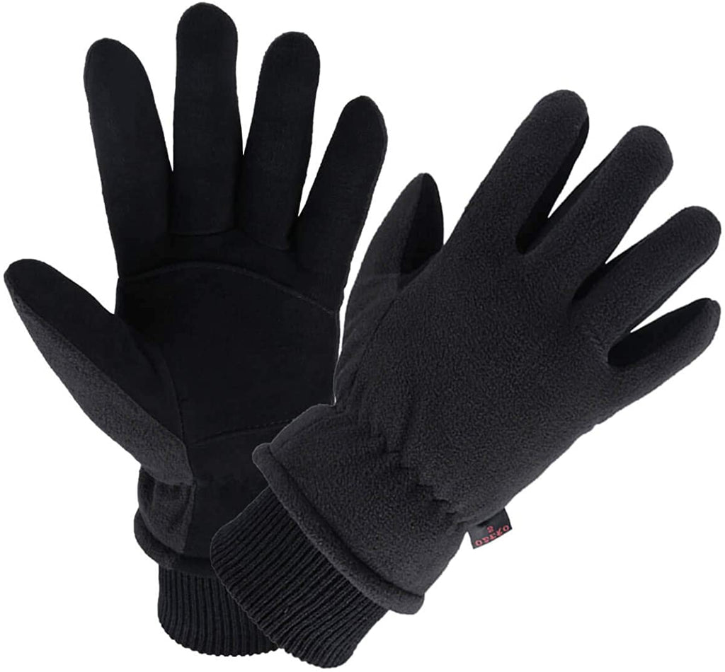 Winter Gloves -30°F Coldproof Thermal Water Resistant Deerskin Suede Leather and Insulated Polar Fleece for Driving/Cycling/Running/Hiking/Snow Ski in Cold Weather - Warm Gifts for Men and Women
