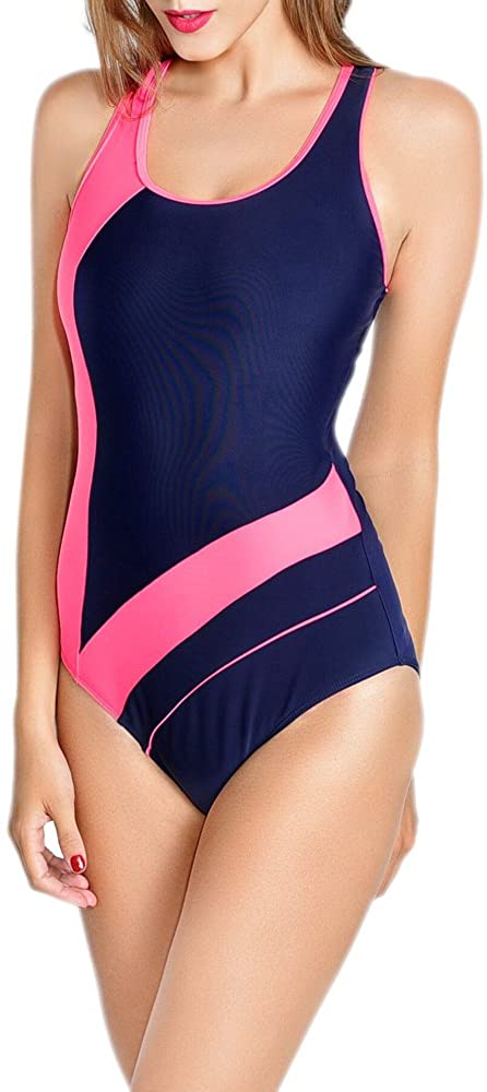 Womens Athletic One Piece Swimsuits Racing Training Sports Bathing Suit