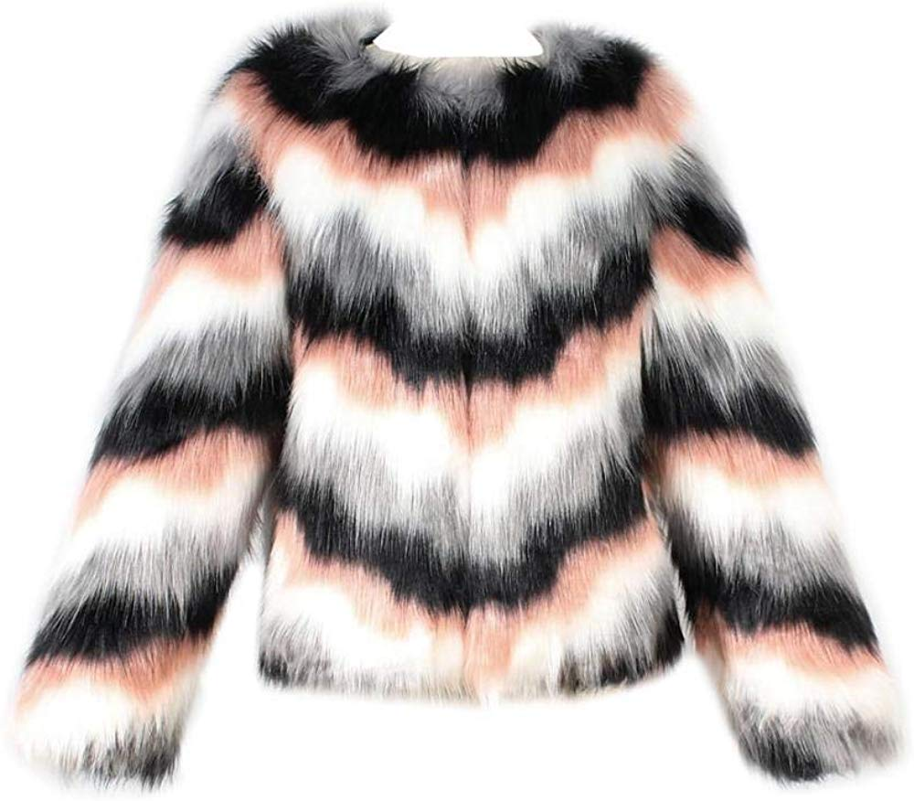 Women Warm Long Sleeve Parka Faux Fur Coat Overcoat Fluffy Top Jacket Leopard Brown