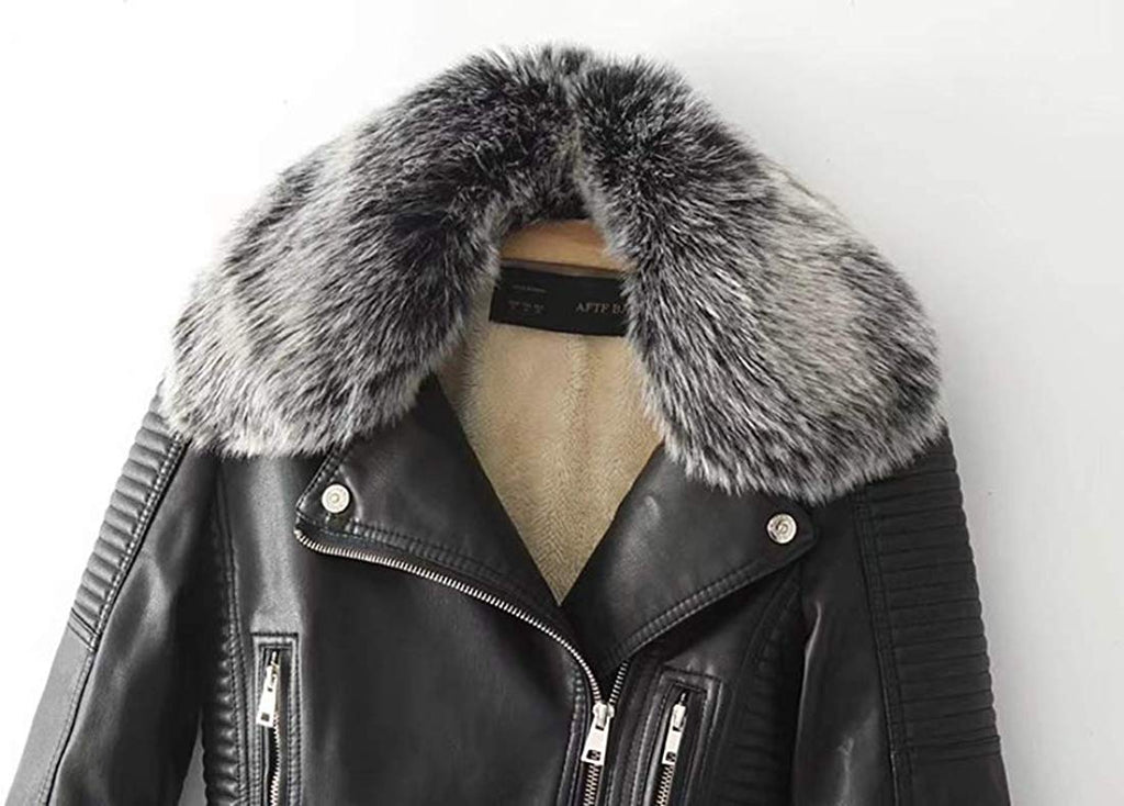 Women's Faux Fur Collar Pu Leather Fleece Lined Warm Quilted Moto Jacket