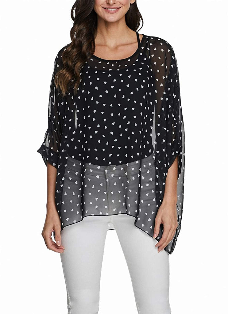 2020 New Pattern Womens Floral Print Batwing Top Chiffon Poncho Summer Casual Loose Sheer Shirt Blouse Tunics
