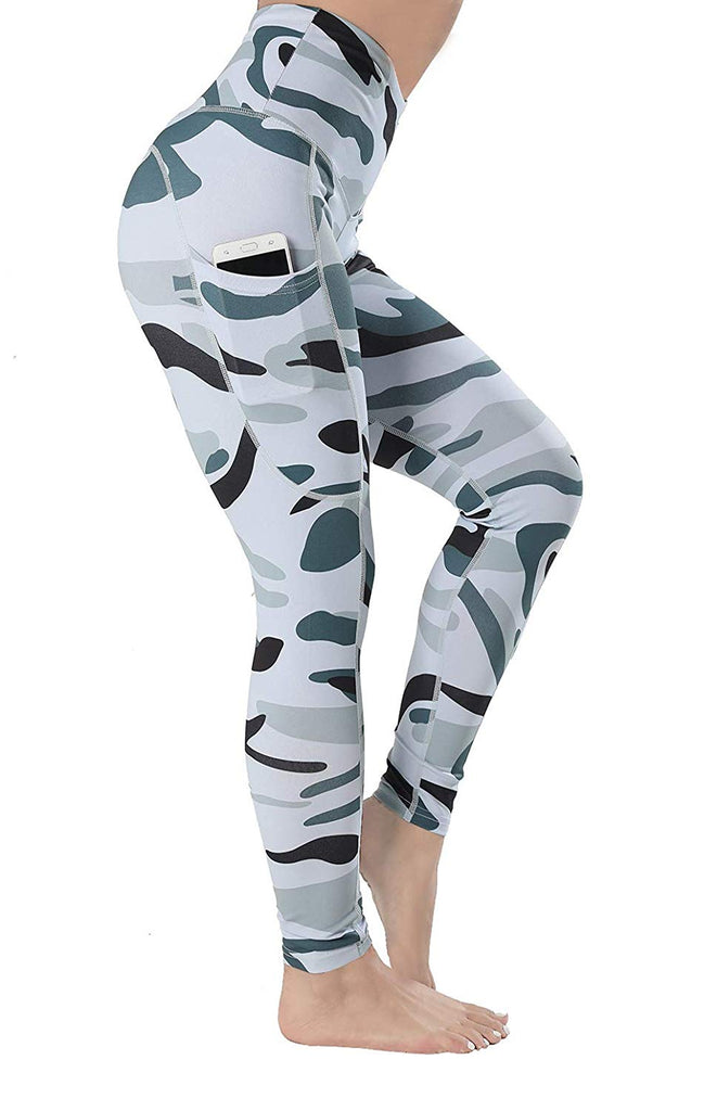 High Waisted Leggings with Pockets-Camo Printed Tummy Control Yoga Pants Workout Leggings for Women