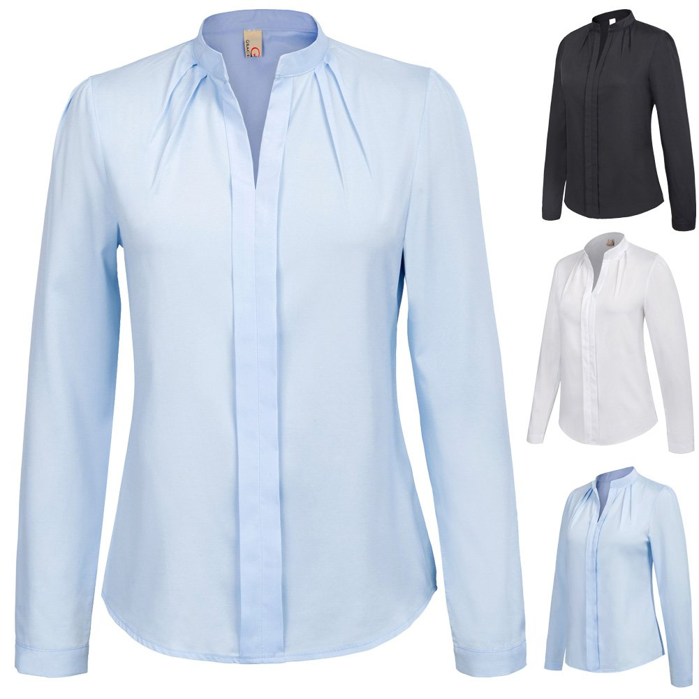 Women's Long Sleeve Stand Collar Office Formal Casual Shirt Blouse