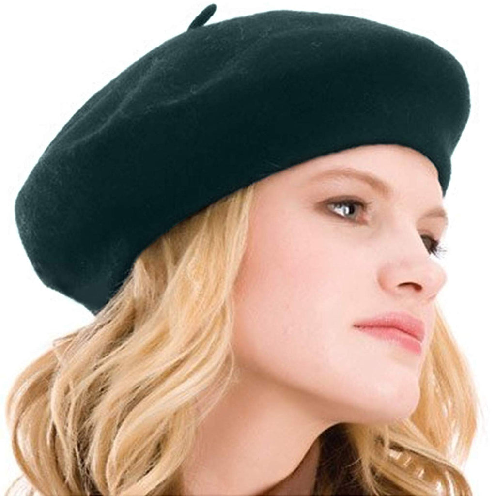 Womens Beret 100% Wool French Beret Solid Color Beanie Cap Hat