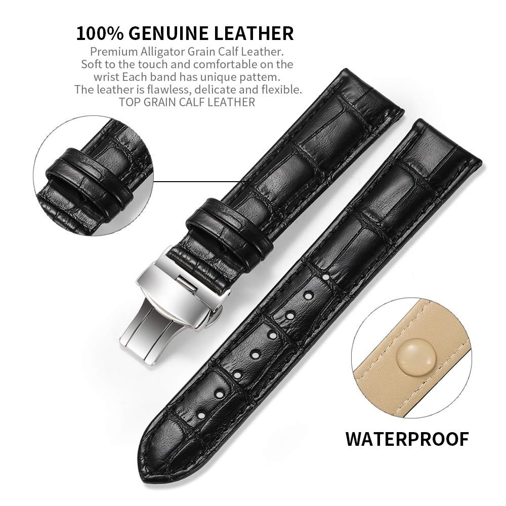 Watch Band Deployment Buckle Calf Leather Padded Replacement Strap 18mm to 24mm