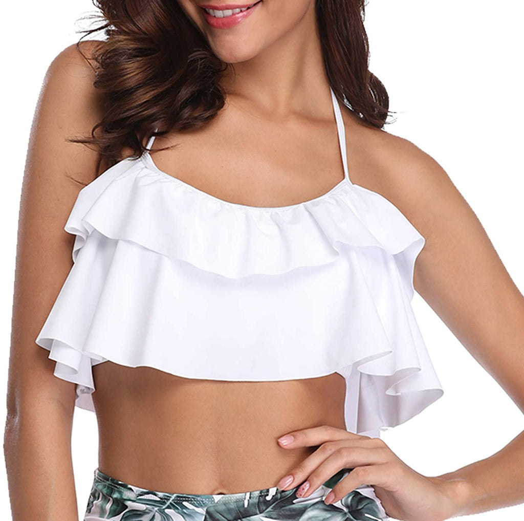 Women Flounce Swimsuit Off Shoulder Ruffled Chic Bikini Tops