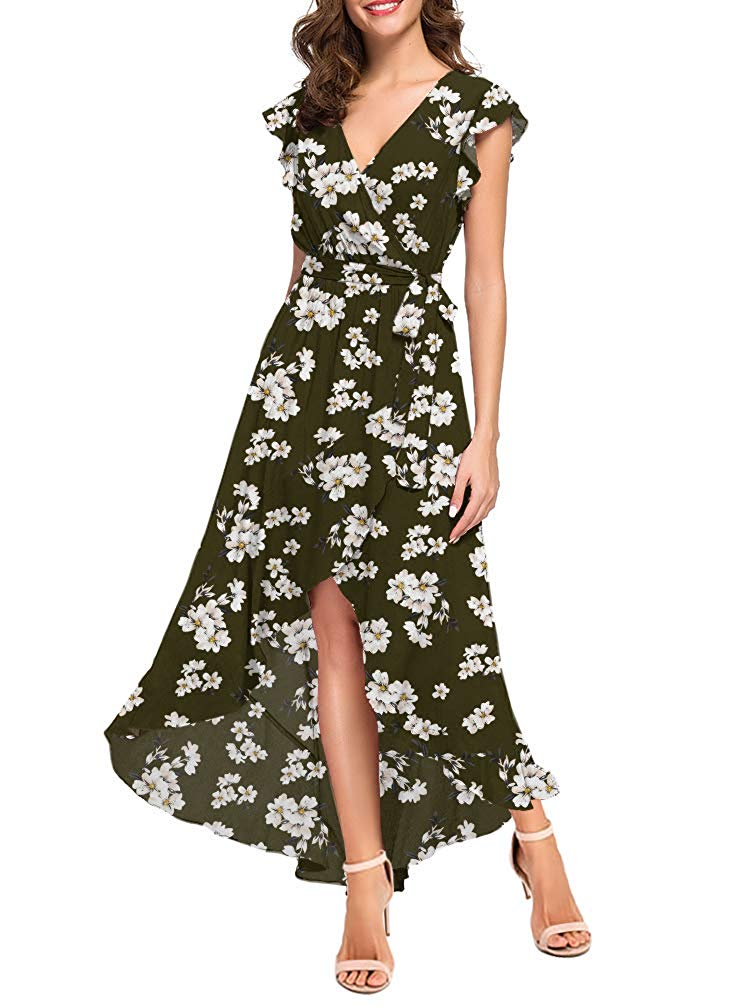 Women's Summer Floral Print Cross V Neck Dress Bohemian Flowy Long Maxi Dresse