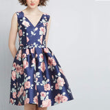 Women's Sleeveless Flower Printed Vintage Cocktail Flare Dresses