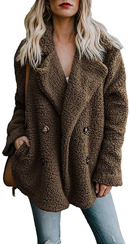 Women's Winter Warm Open Front Fleece Fluffy Jacket Coat Outwear with Pockets