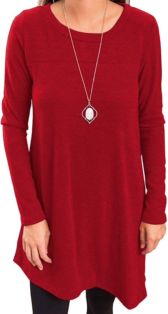 Women's Long Sleeve Round Neck Button Side T Shirts Tunic Dress