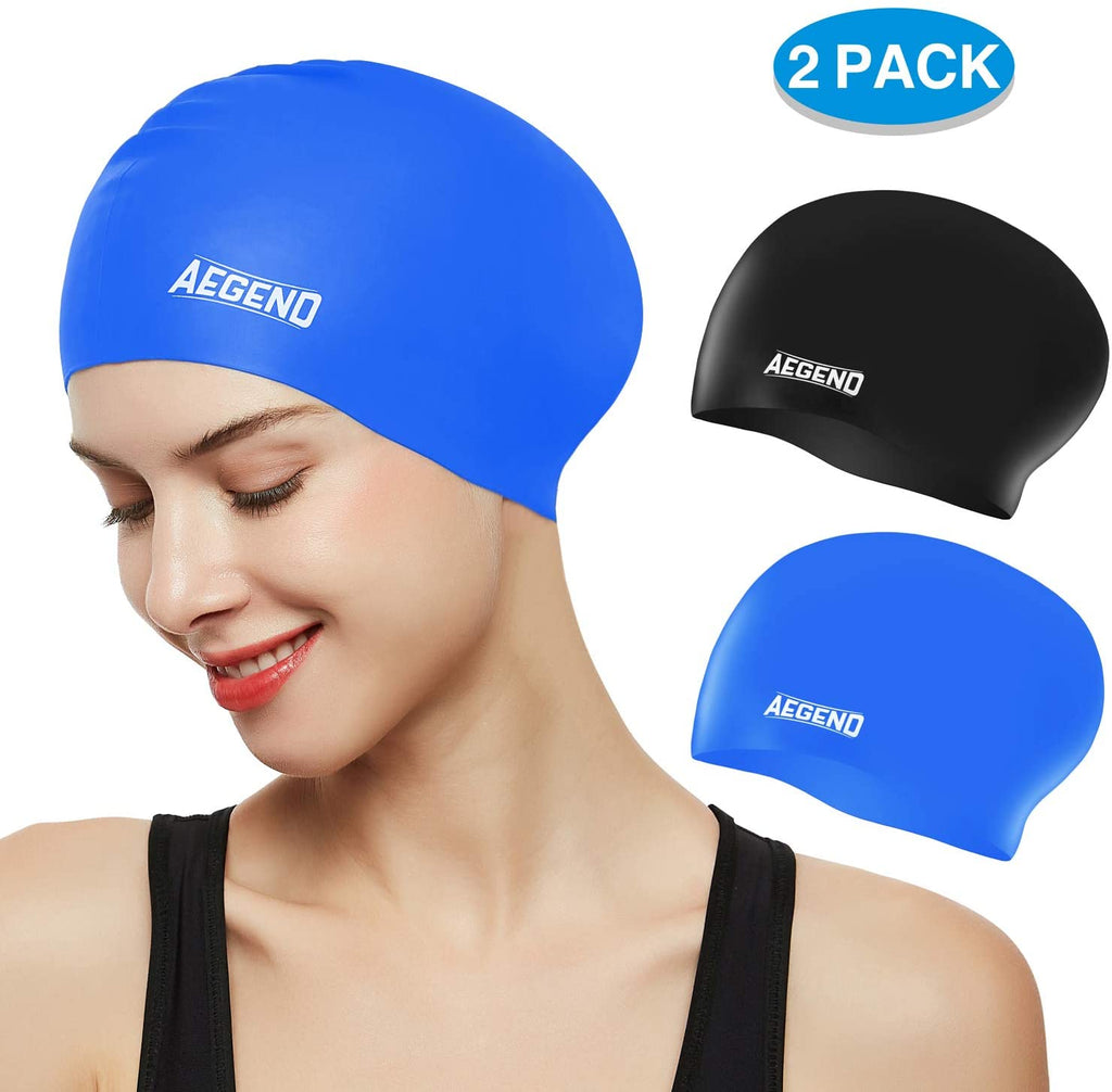 Swim Caps for Long Hair (2 Pack), Durable Silicone Swimming Caps for Women Men Adults Youths Kids