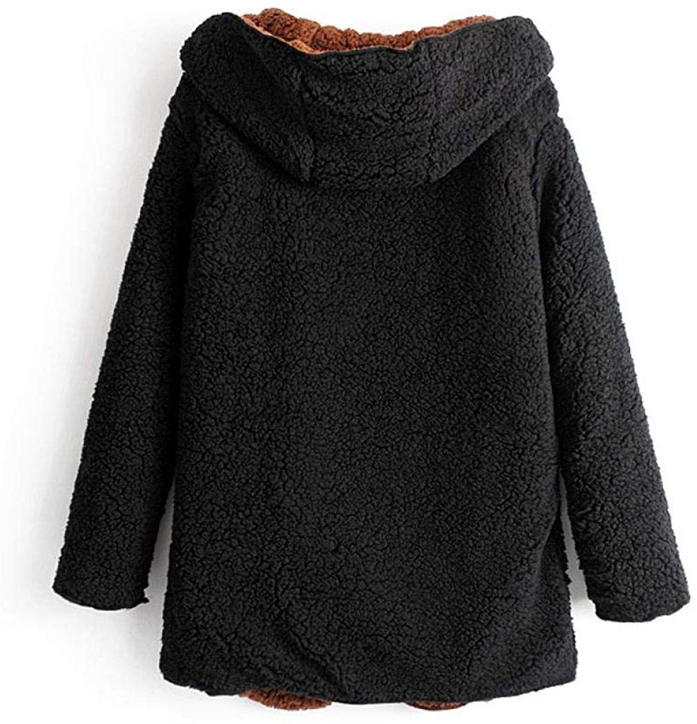 Women Fuzzy Fleece Coat Casual Warm Hooded Faux Fur Jacket Long Reversible Outwear with Pockets